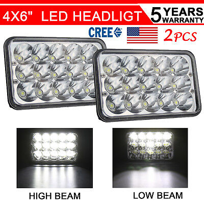 "45W 4x6"" LED Headlights for Kenworth T400 T600 T800 W900L W900B Classic 120/132"