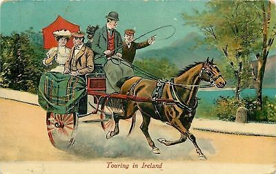 """Touring in Ireland""~Horse Drawn Open Carriage~Fast Trot~Driver~Couple~1907 Art"