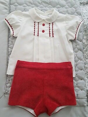 Baby Girls/Boys Spanish Red And White Christmas Outfit Shorts And Shirt Age 6M