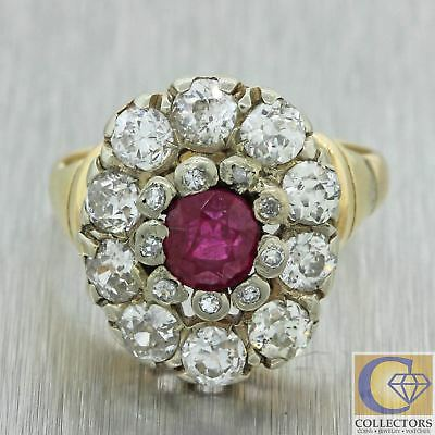1880s Antique Victorian 14k Yellow Gold Ruby Old Mine Cut Diamond Cocktail Ring