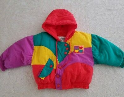 Vintage Toddler Girls Colorblock Jacket Coat Childrens Clothes Yellow Red Retro