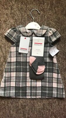 Minoti Girls Pink And Grey Check Wool dress With Matching Tights Age 12 months