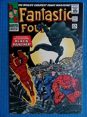 Fantastic Four # 52 - (Fn/vf) - Origin & 1St App Of The Black Panther -White Pgs