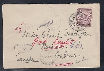Barbados 2c BADGE OF COLONY Cover to MIMICO CANADA REDIRECTED to Port Credit