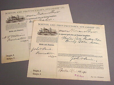 2 Boston And Provincetown Steamship Co. 1890 Bills Of Lading, Cape Cod Shipping
