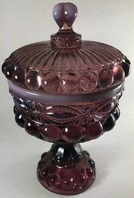 Covered Compote / Large - Eyewinker - Plum Opalescent Glass - Mosser USA
