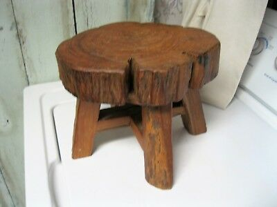 Antique Primitive Hand Carved Wood Log Stool From 1 Piece Of Wood