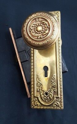 Victorian Ornate Brass Door Knob set with Plates and Mortise Lock- No Key