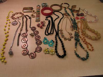 Lot of Vintage Costume Jewelry Black Beads Amber Color Necklace Bangles AS IS