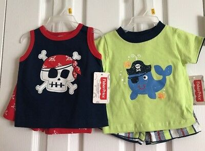 NWT Lot of 2 Fisher-Price_Baby Boy Summer Outfits_Newborn Set_Size 0-3 months