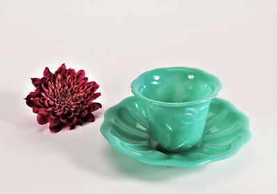 Antique Chinese Peking Glass Cup and Dish Carved Lotus Flowers Jade Green Qing