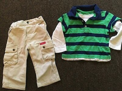 Boys Outfit Size 12 Months - Green, Navy & White L/Sleeve Top , Khaki Pants