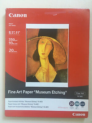 Canon Inkjet Fine Art Paper Museum Etching 20 Sheets 8.5 x 11 inches - brand new