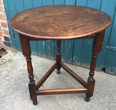 Antique Georgian Style Carved Oak Cricket Table (Side Table Occasional Table)