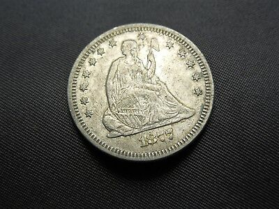 1877 - P Liberty Seated Silver Quarter   HIGH QUALITY   US Coin