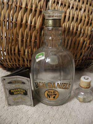 Vintage Jack Daniels Old No 7 Maxwell House Whiskey Decanter Bottle W/ Booklet