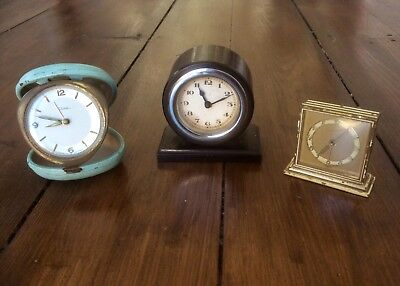 Lot ANTIQUE Vintage ART DECO Wind Up CLOCKS,Ebony,Brass,Mechanical,Alarm,Old