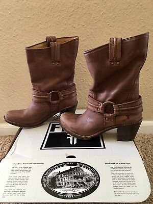 Brand New In Box Frye Carmen Harness Women Brown Leather Boots Size 8
