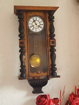 Antique Mahogany Chiming Wall Clock. Very Handsome. Good Working Order