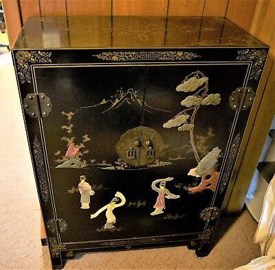 Antique Black Lacquer Chinese Scholars Cabinet