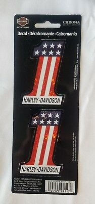 "New Harley Davidson ""#1 Red, White, Blue"" Decal (2 per sheet) P/N CG99117"
