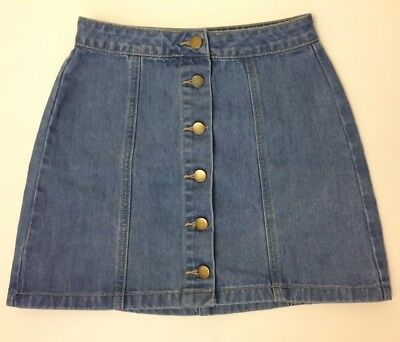 6298c757ba FOREVER 21 WOMENS Denim Button Front Distressed A-Line Jean Skirt ...