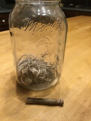 Vintage Moms Mason Jar 24oz Clear Glass Embossed Made in the USA Columbus Ohio