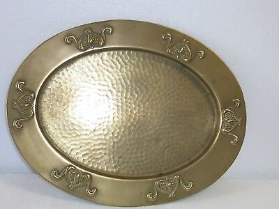 Antique Art Nouveau  Oval Solid Brass Tray (Unsigned Possibly Sankey)