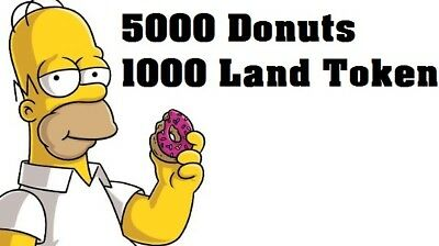 Simpsons Tapped out - 5000 Donuts - 1000 Land Token