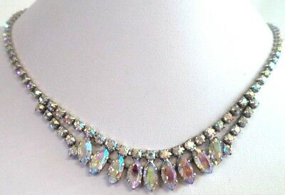 "*rare* Stunning Vintage Estate Signed B David Ab Rhinestone 18"" Necklace! G202N"