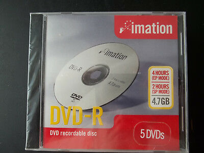 5-Pack imation DVD-R Blank Disc BRAND NEW Media 4.7 GB DVD Recordable 4 Hours EP
