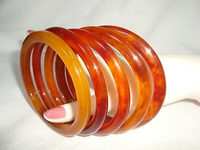 Lot Of 5 Vintage Amber Color Bakelite Bracelets