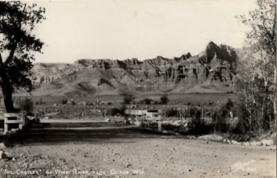 """RPPC - Dubois, Wisconsin - """"The Castles"""" on Wind River - 1950s"""