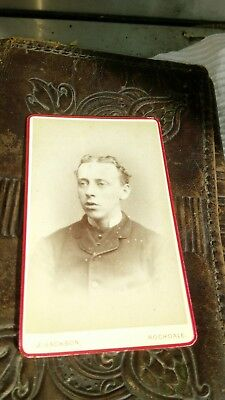 CDV gentleman strange old style hairstyle cabinet photo 1800s barber hairdresser
