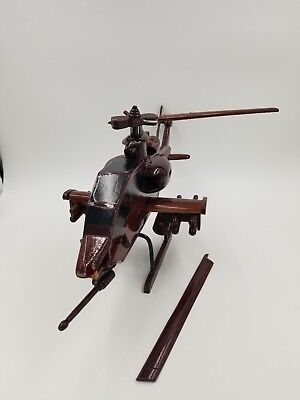 Wooden Apache Helicopter model Mahogany Vietnam- (Broken Fan)