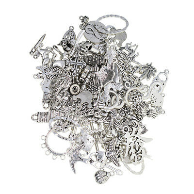 100 Grams Mixed Silver Pendant Charms for DIY Necklace Jewelry Making Craft