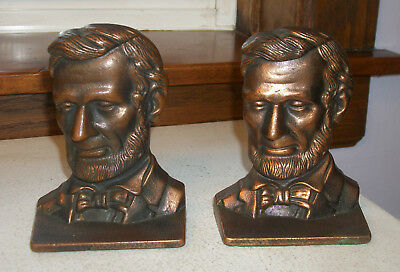Abraham Lincoln Bookends - Verona Foundry - Cast Iron with Bronze Plate  1910s