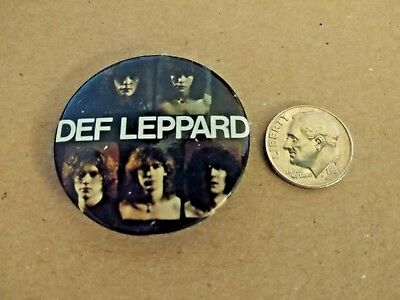 Vintage 1980's DEF LEPPARD Pin Button Pinback Rock & Roll Band