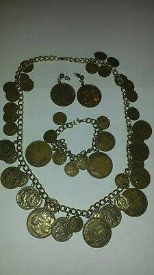 Cool Vintage Alexander The Great Faux Coin Necklace Bracelet Earrings
