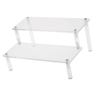 Acrylic Riser Display Shelf Removable Rack 2-Tier Display Stand for Figures