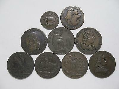 Great Britain Conder Tokens Farthing Half Penny Pigs Meat Oddfellows London+ Lot