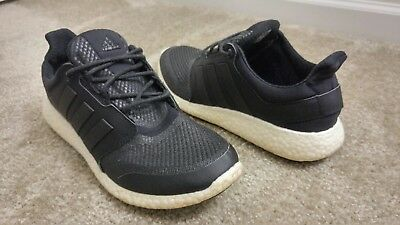 d3b6178aef4fd Adidas Pure Boost 2.0 Black Shoes Men s size 8.5 Woman s size 10 Lightly  Worn