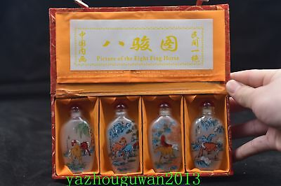 4pc Chinese folk Inside painted Eight Horses Fig glass SNUFF BOTTLE