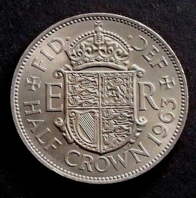 1963 About Uncirculated English Great Britain UK Half Crown Coin - 191