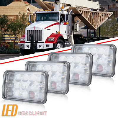 "4PCS 4''x6"" INCH 4D LED Headlight Hi-Lo Beam Fit Kenworth Peterbilt 357 378 379"