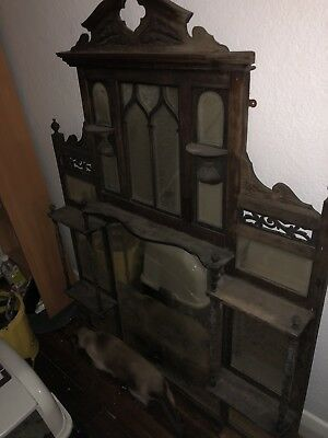 Over mantle antique mirror or for above dresser - Kauri Wood. Roughly 1M By 1M