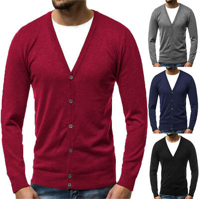 NEW Mens Boy Slim Fit V-neck Knitwear Pullover Cardigan Sweater Jacket Coat Tops