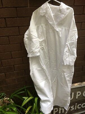 Antique Collectors Nightgown Pure Cotton Lace White Lawn Sleeves Hand Made
