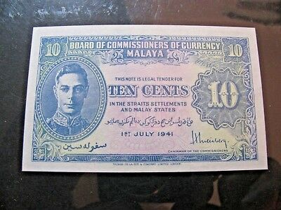 1941 Board  Of Commissioners Of Currency Malaya 10 Cent Unc Banknote