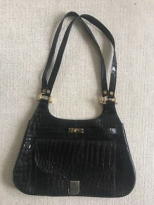 Real Patent Crocodile Alligator Handbag Vintage In Very Good Cond L Kelly Lock